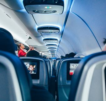 view of the inside of an airplane