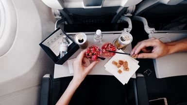 Eating food inside a plane